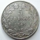 Photo numismatique  Monnaies Monnaies Fran�aises Louis Philippe 5 Francs LOUIS PHILIPPE I er, 5 francs 1845 BB Strasbourg, G.678a TTB