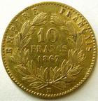 Photo numismatique  Monnaies Monnaies Française en or Second Empire 10 Francs or NAPOLEON III, 10 francs or lauré 1867 BB Strasbourg, petit BB, G.1015 Presque TTB