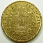Photo numismatique  Monnaies Monnaies Française en or Second Empire 20 Francs or NAPOLEON III, 20 francs or lauré 1865 BB Strasbourg, G.1062 TTB