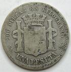 Photo numismatique  Monnaies Monnaies étrangères Espagne, Spain 1 Pesetas Espagne, Spain, 1 pesetas 1869 SM.M, KM.652, B