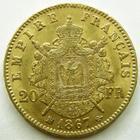 Photo numismatique  Monnaies Monnaies Française en or Second Empire 20 Francs or NAPOLEON III, 20 francs or 1867 BB Strasbourg, petit BB, G.1062 TTB+