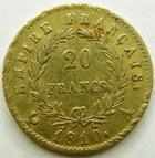 Photo numismatique  Monnaies Monnaies Française en or 1er Empire 20 Francs or NAPOLEON I, 20 francs or 1810 A, Variété petit coq, G.1025 TTB