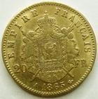 Photo numismatique  Monnaies Monnaies Française en or Second Empire 20 Francs or NAPOLEON III, 20 francs or lauré 1865 A, G.1062 TTB