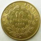 Photo numismatique  Monnaies Monnaies Française en or Second Empire 10 Francs or NAPOLEON III, 10 francs or lauré 1866 BB petit BB, G.1015 presque TTB