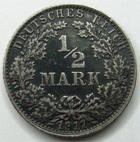 Photo numismatique  Monnaies Allemagne après 1871 Allemagne, Deutschland, Empire, Kaisereich 1/2 Mark Allemagne, Deutschland, Germany, Empire, 1/2 mark 1917 G, J.16 TTB à SUPERBE