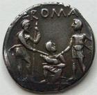 Photo numismatique  Monnaies R�publique Romaine Veturia 137 av Jc Denier, denar, denario, denarius TI.VETURIUS, Denier, Rome en 137 avant Jc, buste de Mars, guerriers pr�tant serment, 3.86 grms, RSC.1 coup sur tranche sinon TTB+