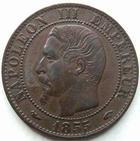 Photo numismatique  Monnaies Monnaies Françaises Second Empire 5 Centimes NAPOLEON III, 5 centimes non lauré 1855 A, Chien, G.152 presque SUPERBE