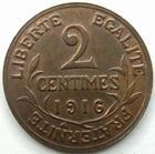 Photo numismatique  Monnaies Monnaies Françaises Troisième République 2 Centimes 2 centimes Dupuis 1916, G.107 SUPERBE