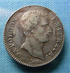 Photo numismatique  Monnaies Monnaies Françaises 1er Empire 1 Franc NAPOLEON Ier premier  empire, 1 franc 1806 A, G.444 TTB+ belle patine!