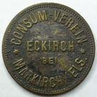 Photo numismatique  Monnaies Monnaies/medailles d'Alsace Eckirch bei Markich (Sainte Marie aux Mines) 2 1/2 Kilo brot ECKIRCH (Echery 68) bei MARKIRCH (Sainte Marie aux Mines), 2 1/2 Kilo brot, Marchand.10.1  TB à TTB