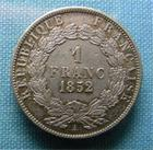 Photo numismatique  Monnaies Monnaies Françaises Deuxième République 1 Franc LOUIS NAPOLEON BONAPARTE, Second empire, 1 franc 1852 A, G.458 SUPERBE + Belle patine