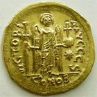 Photo numismatique  Monnaies Monnaies Byzantines 6ème siècle Solidus, solidii JUSTINIANUS I, JUSTINIEN Ier, solidus Constantinople en 527-565, 4.36 grammes, Sear.137 Quasi FDC bel exemplaire!!