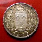 Photo numismatique  Monnaies Monnaies Fran�aises Louis XVIII 1 Franc LOUIS XVIII 1 Franc 1817 B, G.449 TTB+ Patine!!