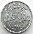 Photo numismatique  Monnaies Monnaies Françaises 4ème république 50 Centimes 50 centimes Morlon aluminium 1947, G.426b SUPERBE
