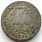 Photo numismatique  Monnaies Monnaies Françaises 1er Empire 1 Franc NAPOLEON I er, 1 franc 1808 D Lyon, revers République, G.446 TB