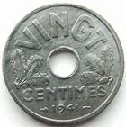 Photo numismatique  Monnaies Monnaies Françaises Etat Français Vingt centimes, 20 centimes zinc Vingt centimes zinc 1941, G.320 bel exemplaire avec son brillant d'origine, petites tâches, presque FDC