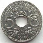 Photo numismatique  Monnaies Monnaies Françaises Troisième République 5 Centimes 5 centimes Lindauer 1938, G.170 SUPERBE+