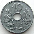 Photo numismatique  Monnaies Monnaies Françaises Etat Français 10 Centimes 10 centimes zinc 1943, G.291 SUPERBE+ Bel exemplaire pour le type!