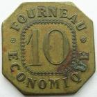 Photo numismatique  Monnaies Monnaies de nécéssité Rambervillers, Vosges jeton de 10 Rambervillers, Vosges, jeton de 10, Fourneau économique, Elie manque! TTB rare!