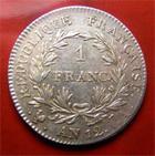 Photo numismatique  Monnaies Monnaies Françaises 1er Empire 1 Franc NAPOLEON Ier empire français, 1 franc 1813 A, G.447 SUPERBE + très belle monnaie!!