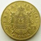 Photo numismatique  Monnaies Monnaies Française en or Second Empire 20 Francs or NAPOLEON III, 20 francs or lauré 1864 BB Strasbourg, G.1062 TTB