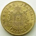 Photo numismatique  Monnaies Monnaies Française en or Second Empire 20 Francs or NAPOLEON III, 20 francs or lauré 1869 A Paris, G.1062 TTB