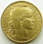 Photo numismatique  Monnaies Monnaies Française en or Troisième République 20 Francs or 20 francs or Coq (Marianne) 1907, G.1064a TTB+/TTB
