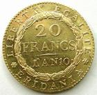 Photo numismatique  Monnaies Monnaies Française en or Napoleonides 20 francs or Marengo Gaule Subalpine, 20 francs or Marengo AN 10 Turin, 6.45 grms, DMP.894 SUPERBE+ avec un beau brillant d'origine!