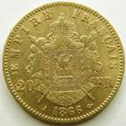 Photo numismatique  Monnaies Monnaies Française en or Second Empire 20 Francs or NAPOLEON III, 20 francs or lauré 1866 A Paris, G.1062 TTB