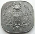 Photo numismatique  Monnaies Monnaies de nécéssité Neuilly sur Seine 20 Centimes NEUILLY SUR SEINE, 20 centimes 1918, Solidarité commerciale et industrielle, E.10.1 TTB