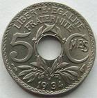 Photo numismatique  Monnaies Monnaies Françaises Troisième République 5 centimes Lindauer 5 centimes Lindauer 1934, G.170 SUPERBE