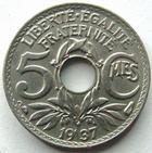 Photo numismatique  Monnaies Monnaies Françaises Troisième République 5 centimes Lindauer 5 centimes Lindauer 1937, G.170 SUPERBE