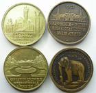 Photo numismatique  Monnaies Médailles Exposition coloniale Médaille en cuivre Exposition coloniale de 1931, Ensemble de 4 médailles en cuivre, Afrique, Asie, Amérique et Océanie, gravé par L.Bazor, TTB+ et SUPERBE