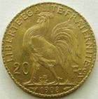 Photo numismatique  Monnaies Monnaies Française en or Troisième République 20 Francs or 20 francs or Coq 1908, G.1064a SUPERBE/TTB+