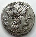 Photo numismatique  Monnaies R�publique Romaine Aburia 134 av Jc Denier, denar, denario, denarius C.ABURIUS GEMINUS, Denier Rome en 134 avant Jc, Quadrige, 3.91 grammes, RSC.Aburia 6 TTB+