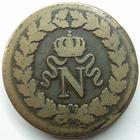 Photo numismatique  Monnaies Monnaies Françaises Les cents jours Un Décime NAPOLEON Ier, Un Décime 1814.BB Strasbourg, G.195b TB+