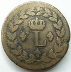 Photo numismatique  Monnaies Monnaies Françaises Les cents jours Un Décime LOUIS XVIII, Un Décime 1814.BB Strasbourg, G.196a TB+