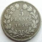 Photo numismatique  Monnaies Monnaies Françaises Louis Philippe 5 Francs LOUIS PHILIPPE, 5 francs 1836 B Rouen, G.678 TB+