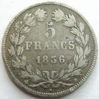 Photo numismatique  Monnaies Monnaies Fran�aises Louis Philippe 5 Francs LOUIS PHILIPPE, 5 francs 1836 B Rouen, G.678 TB+
