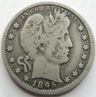 Photo numismatique  Monnaies Monnaies étrangères U.S.A Quarter dollar, Barber quarter, 1/4 dollar U.S.A , Etats-Unis, Barber quarter, quarter dollar, 1895 O, KM.114 TB