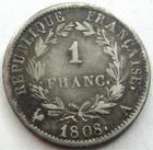 Photo numismatique  Monnaies Monnaies Françaises 1er Empire 1 Franc NAPOLEON I er, 1 franc 1808 A Paris, revers République, G.446 TB+