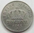 Photo numismatique  Monnaies Monnaies Françaises Second Empire 20 Cmes NAPOLEON III, 20 centimes lauré 1866 K Bordeaux, G.308 Presque TTB