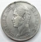 Photo numismatique  Monnaies Monnaies Fran�aises Charles X 5 Francs CHARLES X, 5 francs 1827 D Lyon, G.644 traces de n�ttoyage sinon TTB