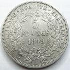 Photo numismatique  Monnaies Monnaies Françaises Deuxième République 5 Francs 5 francs Cérès 1849 A Main/Chien, G.719 TB à TTB