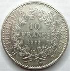 Photo numismatique  Monnaies Monnaies Françaises Cinquième république 10 Francs 10 Francs Hercule 1973, G.813 petits coups sur tranche et légères traces de néttoyage sinon SUPERBE +