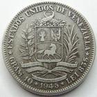 Photo numismatique  Monnaies Monnaies étrangères Venezuela 2 Bolivar VENEZUELA, 2 Bolivar 1945, KM.23a TTB