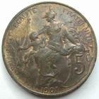 Photo numismatique  Monnaies Monnaies Françaises Troisième République 5 centimes Dupuis 5 centimes Dupuis 1901, G.165 fine rayure au revers sinon TTB à SUPERBE
