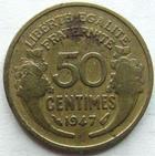 Photo numismatique  Monnaies Monnaies Françaises Gouvernement Provisoire 50 Centimes 50 centimes Morlon 1947, Cupro-aluminium, G.423b TB Rare!