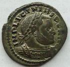 Photo numismatique  Monnaies Empire Romain LICINIUS I, LICINIO I,  Follis, folles,  LICINIUS I, Follis Rome en 314, Soli Invicto Comiti, 2.96 grammes, RIC.23 TTB avec un beau reste d'argenture!!