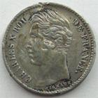Photo numismatique  Monnaies Monnaies Fran�aises Charles X 1/4 de Franc CHARLES X, 1/4 de franc 1827 A Paris, G.353 Coups sur tranche, TB+